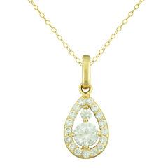 Petite Lux™ Cubic Zirconia 10K Yellow Gold Teardrop Pendant Necklace