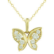 Petite Lux™ Cubic Zirconia 10K Yellow Gold Butterfly Pendant Necklace