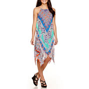 MSK Sleeveless Handkerchief Hem Print Halter Dress