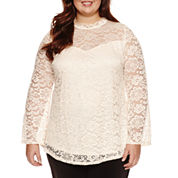 by&by 3/4 Sleeve Round Neck Lace Blouse-Juniors Plus