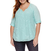 St. John's Bay 3/4 Sleeve T-Shirt-Plus