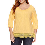 St. John's Bay 3/4 Sleeve Scoop Neck T-Shirt-Plus