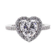 DiamonArt® Cubic Zirconia Sterling Silver Heart Halo Ring