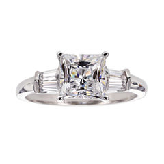 DiamonArt® Cubic Zirconia Sterling Silver 3-Stone Ring