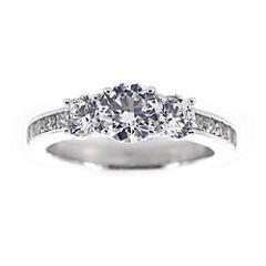 DiamonArt® Cubic Zirconia Sterling Silver 3-Stone Ring