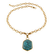 Art Smith by BARSE Genuine Turquoise Brass Pendant Necklace