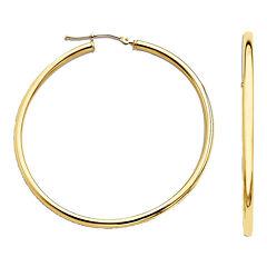 Narrow Hoop Earrings 14K Yellow Gold