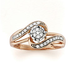 1/5 CT. T.W. Diamond 10K Rose Gold Promise Ring