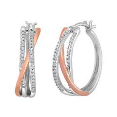 1/10 CT. T.W. Diamond Two-Tone Triple-Hoop Earrings