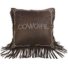 HiEnd Accents Calhoun Cowgirl Square Decorative Pillow