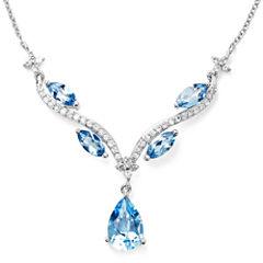 Genuine Blue Topaz & Lab-Created White Sapphire Y Necklace