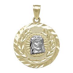 Tesoro™ 14K Two-Tone Gold Diamond-Cut Christ Head Medallion Pendant