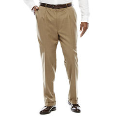 Stafford® Travel Tan Herringbone Pleated Suit Pants - Big & Tall