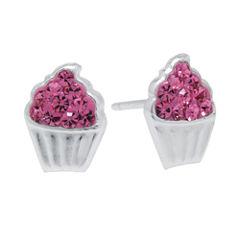 Pink Crystal Sterling Silver Cupcake Stud Earrings
