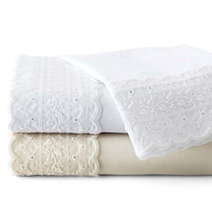 JCPenney Home™ 300tc Easy Care Set of 2 Lace Pillowcases