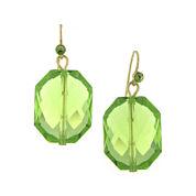 1928® Green Stone Gold-Tone Drop Earrings