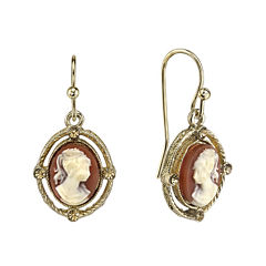 1928® Gold-Tone Cameo Drop Earrings