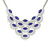 1928® Blue Stone Silver-Tone Filigree Bib Necklace