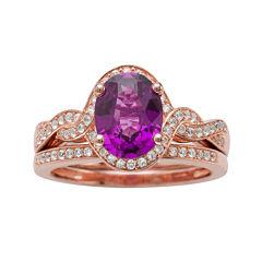 Genuine Amethyst and 1/3 CT. T.W. Diamond 10K Rose Gold Ring Set