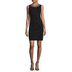 Liz Claiborne Sleeveless Beaded Embellished Sheath Dress-Talls