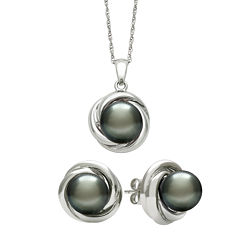 Genuine Tahitian Pearl Love Knot Pendant Necklace & Earring Set