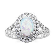 Lab-Created Opal and Lab-Created White Sapphire Sterling Silver Ring