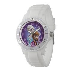 Disney Womens Frozen White Rubber Strap Watch