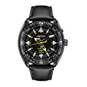 Seiko® Prospex Mens Black Leather Strap Kinetic GMT Chronograph Sport Watch SUN057