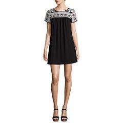 Trixxi Short Sleeve Embroidered Blouson Dress-Juniors