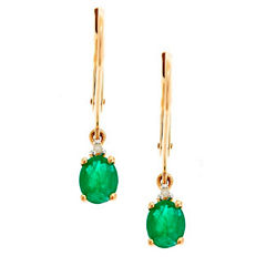 LIMITED QUANTITIES! Diamond Accent Genuine Emerald 10K Gold Drop Earrings