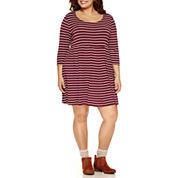 Arizona 3/4 Sleeve Babydoll Dress-Juniors Plus