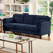 Lorena Contemporary Fabric Pad-Arm Sofa