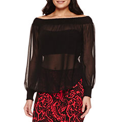 Bisou Bisou Slit Sleeve Smocked Off Shoulder Top