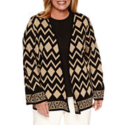 Alfred Dunner 3/4 Sleeve Cardigan-Plus