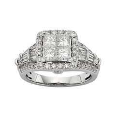 tw diamond 10k white gold quad princess ring - Jcpenney Wedding Ring Sets