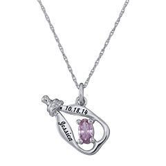 Personalized Girls Birthstone Bottle Pendant Necklace