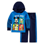 Boys Mickey Mouse Long Sleeve Pant Set-Toddler