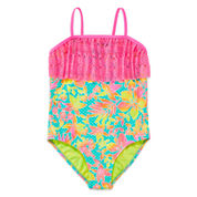 Breaking Waves Girls Solid One Piece Swimsuit Plus-Big Kid