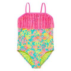 Breaking Waves Solid One Piece Swimsuit Big Kid Girls Plus