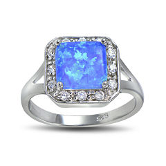 Lab-Created Blue Opal and Cubic Zirconia-Accent Sterling Silver Square Halo Ring