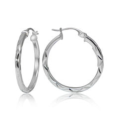 Sterling Silver Diamond-Cut 25MM Hoop Earrings