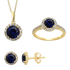 Lab Created Blue and White Sapphire Earrings, Ring Or Pendant