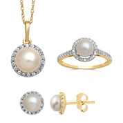 Cultured Freshwater Pearl and Lab Created White Sapphire Earrings, Pendant Or Ring