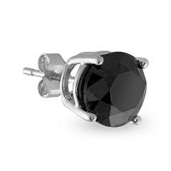 Single 3/8 CT. T.W. Black Diamond 14K White Gold Stud Earring