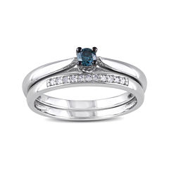 1/6 CT. T.W. White and Color-Enhanced Blue Diamond Ring Set
