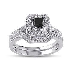 Midnight Black Diamond 5/8 CT. T.W. White and Color-Enhanced Black Diamond 10K White Gold Vintage-Style Bridal Set