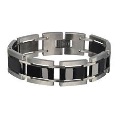 Inox® Jewelry Mens Stainless Steel & Black Ceramic Bracelet
