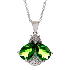 Sterling Silver Simulated Peridot Bee Pendant Necklace