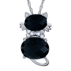 Sterling Silver Genuine Black Onyx and White Sapphire Cat Pendant Necklace