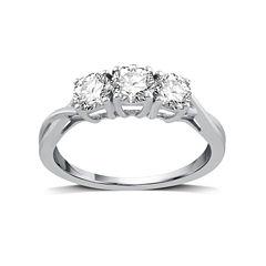 1 CT. T.W. Round White Diamond 10K Gold 3-Stone Ring